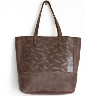 Menorca Tote Walnut Leaves